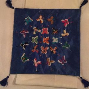 Vintage silk embroidered Asian pillowcase